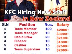 KFC Hiring New Staff in New Zealand